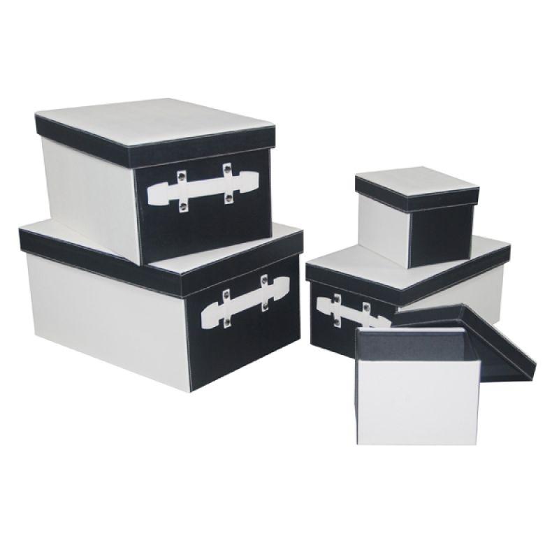 aufbewahrungsboxen rechteckig schwarz weiss set von 5 95 50. Black Bedroom Furniture Sets. Home Design Ideas