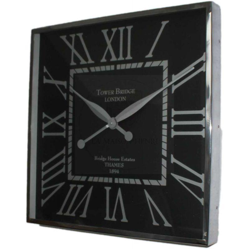 Edelstahl wanduhr quadratisch wallclock 51 cm schwarz 164 for Wanduhr modern edelstahl