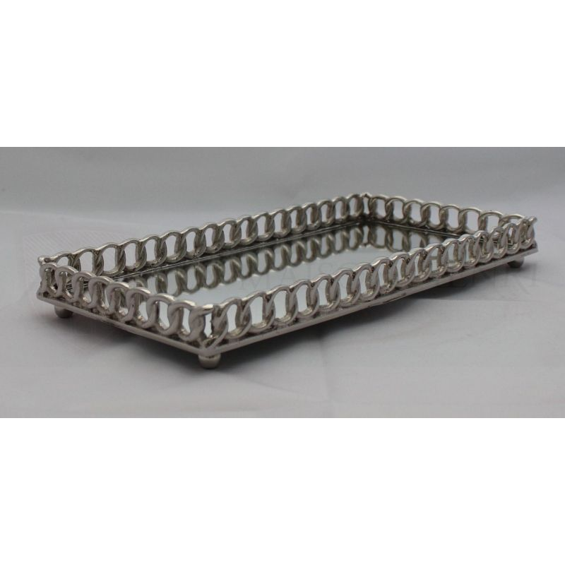 serviertablett spiegeltablett mit kettenf rmigen rand 89 50. Black Bedroom Furniture Sets. Home Design Ideas