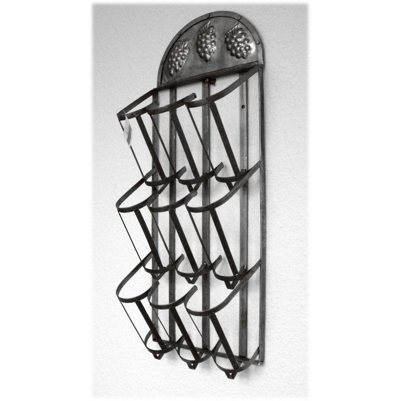 weinregal f r 9 weinflaschen verzinkt mit traubendekor 6895. Black Bedroom Furniture Sets. Home Design Ideas