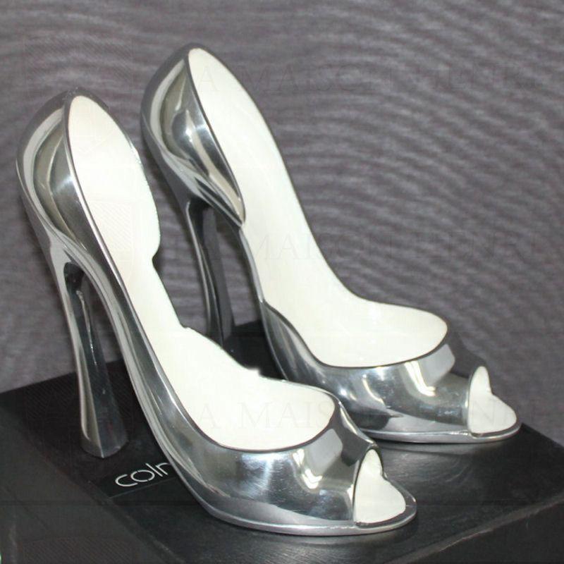 dekoobjekt dekoschuhe weinst nder high heels silber weiss 99 72. Black Bedroom Furniture Sets. Home Design Ideas