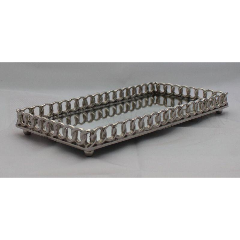 serviertablett spiegeltablett mit kettenf rmigen rand la maison hen 7929. Black Bedroom Furniture Sets. Home Design Ideas