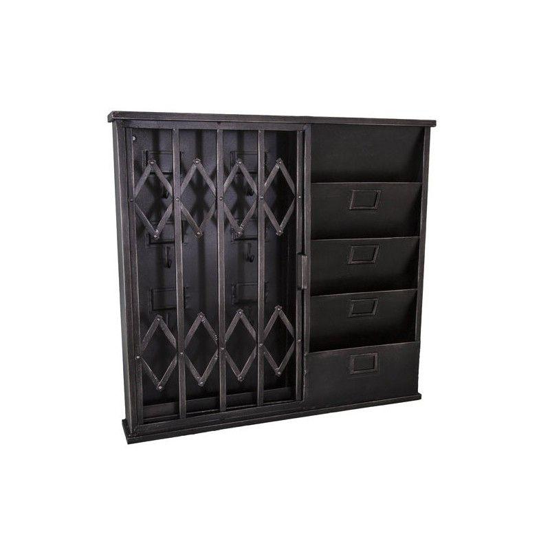 hotel reception schl ssel post schrank mit akkordeon t r. Black Bedroom Furniture Sets. Home Design Ideas