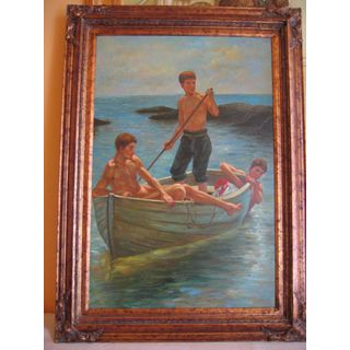 Jünglinge im Boot   Ölgemälde auf Leinwand ca. 110*80 cm