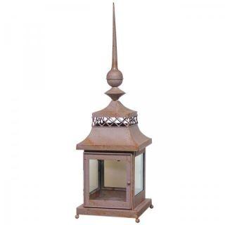 Laterne Windlicht aus Eisen Farbe Rostbraun 75cm