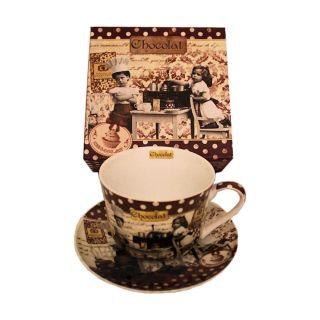 Chocolate Porzellan Tasse mit Unterteller