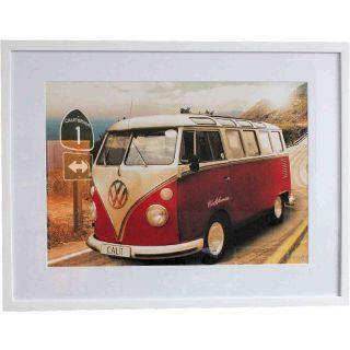 VW Bus Bild mit Rahmen Camper in California II