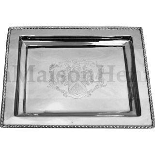 Tablett Servierplatte mit geätztem Wappen