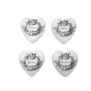 4 Herzdosen mit Engel und unterschiedlichen Beschriftungen