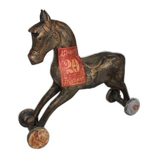 Dekoration Holzpferd auf Räder