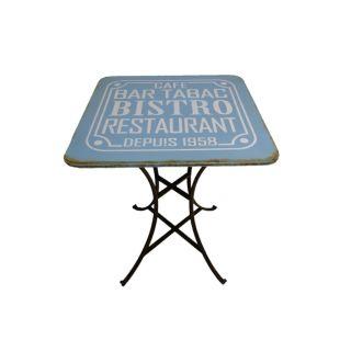 Blauer Vintage Pup- / Bistrotisch Café Bar Tabac Bistro Restaurant seit 1958