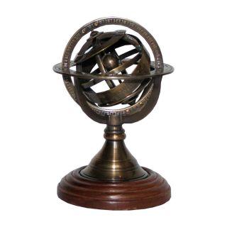 Armillarsphäre in Bronze auf einem Holzsockel