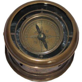 Dekorativer Trommel Kompass in Anitik-Messing
