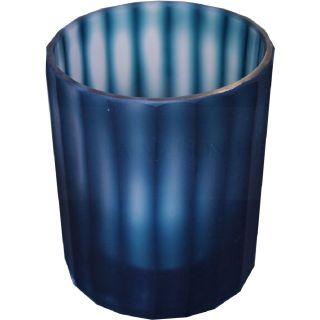 Teelichthalter Ocean Blau mit Streifen