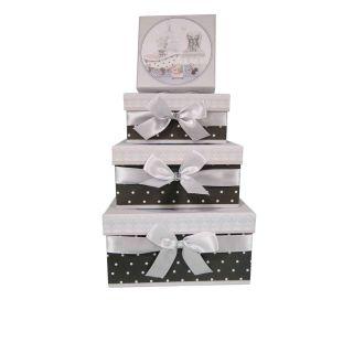 4 Geschenkboxen Geschenkkartons mit Schleife  Modell  Cherie