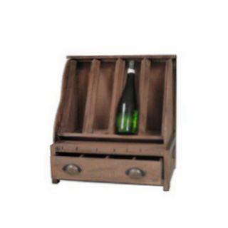 Weinstand Weinregal für 4 Flaschen mit Schublade