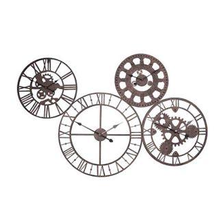 Wanduhr mit 4 Laufwerken im Industrielook