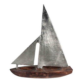 Segelboot auf Mangoholz Sockel mit silberfarbenen Segel 39 cm