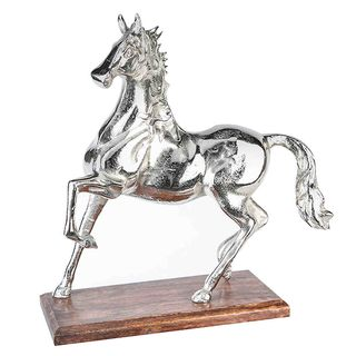 Skulptur das silberne Pferd auf Mangoholz Sockel 41cm hoch
