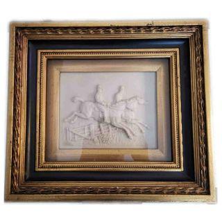 Hinterglasbild Relief mit zwei reitenden Personen