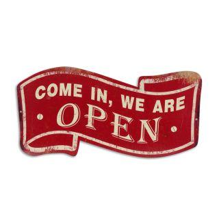 Metallschild Come in, we are open