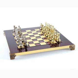 Classic Metall Staunton Schach Set in Rot 36 cm
