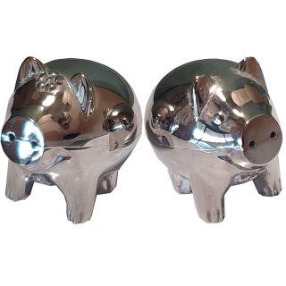 Salz-  & Pfefferstreuer silberfarbene Schweinchen