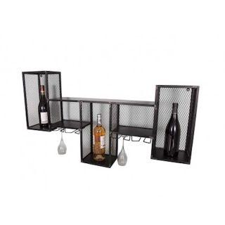 Dekoratives Weinregal aus Eisen mit Gläserhalter