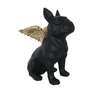 Flying Bulli Skulptur 25 cm mit glänzenden, goldfarbigen Engelsflügeln