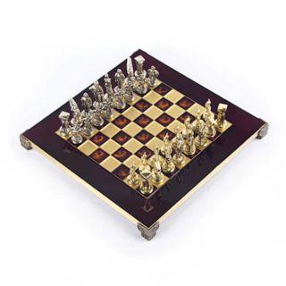 Schachspiel Set Rot mit Sparta Krieger Spielfiguren 28 cm